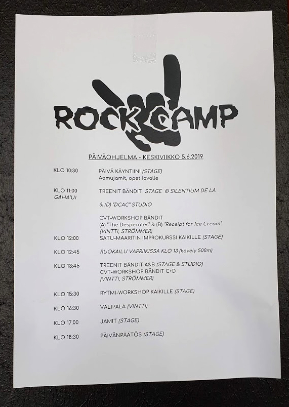 Rockcampin leiriohjelma on monipuolinen kattaus.